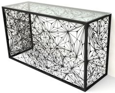 Nebula Console from Arktura made with powder coated, laser-cut steel.