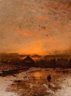 Ludvig Munthe (1841-1896) - Sunset in Norway