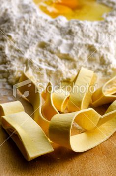 Italian fresh pasta: pappardelle Royalty Free Stock Photo