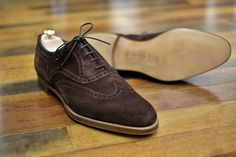 Edward Green special-order Falkirk in mink suede on the 202 last