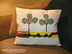 Paint Stamped Tree Pillow featuring Claudine Hellmuth Studio Products from Ranger Ink. Designed by Lisa Fulmer for http://cool2craft.com #diycraft