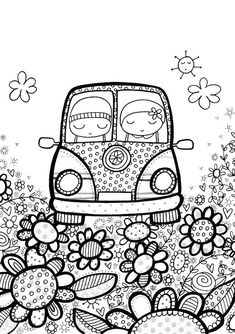 A Drive In The Park Colouring Page