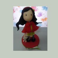 Girl handmade cake topper polymer (cold porcelain) by RUSTIKOcakeDecoratio on Etsy