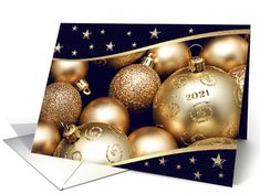 Happy New Year 2021 Christmas Ornament Design Card Christmas Card Ornaments Business Holiday Cards Customizable Christmas Cards