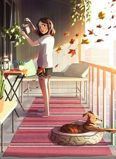 Gleich um die Ecke, ein Kunstdruck von Yaoyao Ma Van As - Welcome to our website, We hope you are satisfied with the content we offer. Art And Illustration, Alone Art, Art Mignon, Digital Art Girl, Cool Animations, Girl And Dog, Anime Art Girl, Aesthetic Art, Aesthetic Anime
