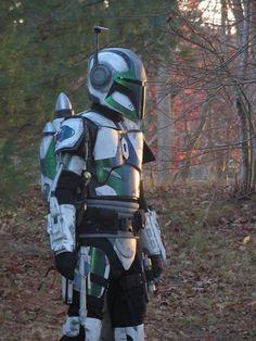 Mandalorian Merc wearing a Stalker helmet and rocketpack
