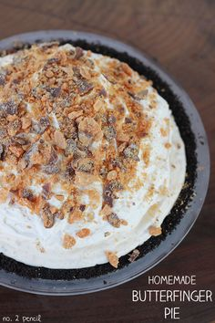 Butterfinger Pie with easy homemade Butterfinger ice cream.