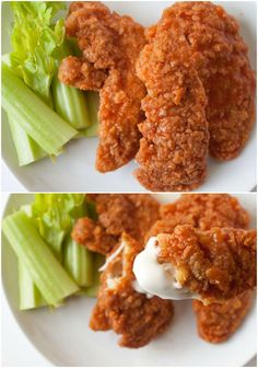 These crispy buffalo chicken tenders are seriously everyone's favorite! Here's the secret to making them super crispy like your favorite restaurant!