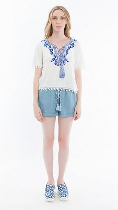 Hiché Women's Embroidered Tie Front Tee #HicheNYC http://shop.pe/3ED18