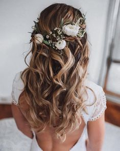 Wedding Hair Half Up Ideas ★ wedding hair half up curly textured loose curls o. - - Wedding Hair Half Up Ideas ★ wedding hair half up curly textured loose curls on blonde hair with white roses and greenery msalishanycole Wedding Hair Half, Wedding Hair And Makeup, Wedding Updo, Hair Makeup, Wedding Ceremony, Wedding Bride, Hair Up Wedding Styles, Wedding Hair Curls, Medium Wedding Hair