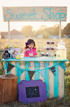 "While I can thank @Krista Campbell for the ""Sweet Shop"" set up I did make the lush purple pretties, the headband & the Chalkboard. So pretty!"