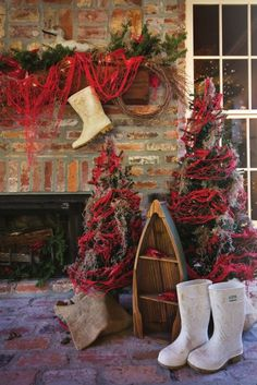christmas winter perfect for lodgelake housedecor red with white boots - Cajun Christmas Decorations