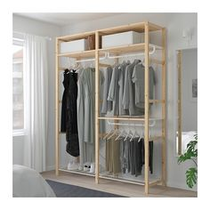 IKEA - IVAR, Shelving unit with clothes rail, Untreated solid wood is a durable natural material which is even more hardwearing and easy to look after if you oil or wax the surface. You can move shelves and adapt spacing to suit your needs. Clothes Rail Ikea, Clothes Shelves, Ikea Ivar Regal, Metal Shelving Units, Ikea New, Bedroom Storage, Furniture Design, Interior Design, Home Decor