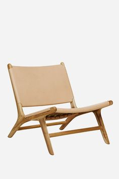 Leather Marlboro Chair - Teak & Natural - I could do with a couple of these in the lounge room...$750