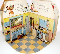 Dutch pop-up dollhouse book from the 1950s - kitchen