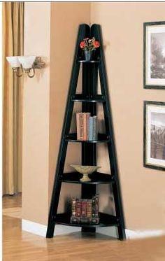 Rubbed Black Finish Home Office Corner Shelf by Coaster Furniture Wooden Corner Shelf, Corner Shelving Unit, Corner Bookshelves, Shelf Units, Ladder Shelves, Shelving Units, Corner Unit, Bookcases, Display Shelves