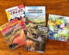 """I had a lot of work this week so I thought I'd have a quiet Sunday and go through my art books. Here is a list of my absolute favorites that I just had to share with you. Have you read any of these? Do you have a favorite """"how to"""" art book? 1) Stephen Quiller """"Color Choices"""" - all you need to know about color theory and mixing colors 2) Nita Engle """"How to Make a Watercolor Paint Itself"""" - I use her splattering and spraying techniques in many of my paintings 3) Joyce Hicks """"Painting Beautiful…"""