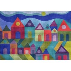 Houses by Maggie & Co Size: x Mesh Count: 13 Needlepoint Designs, Needlepoint Stitches, Needlepoint Kits, Counted Cross Stitch Patterns, Cross Stitch Designs, Cross Stitch Embroidery, Needlework, Cross Stitch House, Modern Cross Stitch