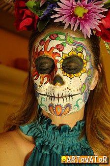 Great dia de los muertos face painting!