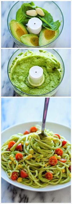 Avocado Pasta  Ingredients:       12 ounces spaghetti  2 ripe avocados, halved, seeded and peeled  1/2 cup fresh basil leaves  2 cloves g...