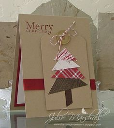 Christmas card on kraft with a pieced paper tree using bold Christmas colors..luv the design and warm, homey feeling...