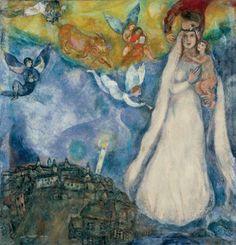 Marc Chagall, Madonna of the Village, (Museo Thyssen-Bornemisza, Madrid Marc Chagall, Artist Chagall, Chagall Paintings, Chagall Prints, Oil Paintings, Pablo Picasso, Jewish Art, Religious Art, Madona