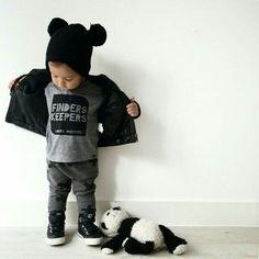 Baby boy Grey, black, panda
