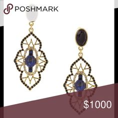 """Crystal Detailed Drop Earrings 14K gold plated base metal with crystal and resin stones. Post back . Approximately 2.75"""" length x 1""""W Oliva Welles Jewelry Earrings"""