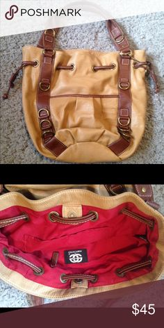 Red By Marc Ecko Leather Shoulder Bag Red By Marc Ecko Leather Shoulder Bag. Great condition never been used. Tan with brown straps. Bright red inside Ecko Unlimited Bags Shoulder Bags