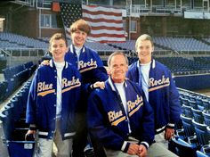 2002, at Frawley Stadium, home of the Wilmington Blue Rocks. From left to right: Ben, Martha, Tom, and Chris.