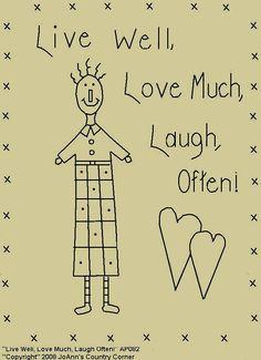 Primitive Stitchery E-Pattern, Live Well, Love Much, Laugh Often!
