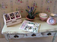 Dollhouse miniature Shabby Chic Cutlery box by MiniAbuela on Etsy