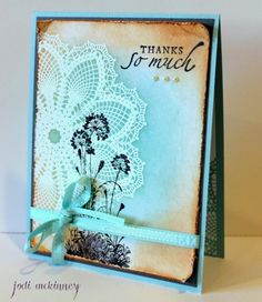 Hello Doily & Serene Silhouettes Distressed Thank You by JodiMckinney - Cards and Paper Crafts at Splitcoaststampers