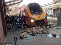 Smash: A passenger had to be taken to hospital with back injuries after a train crashed into platform buffers at Chester train station Electric Locomotive, Diesel Locomotive, Chester City, Train Truck, Abandoned Train, Train Art, Train Pictures, Electric Train, British Rail