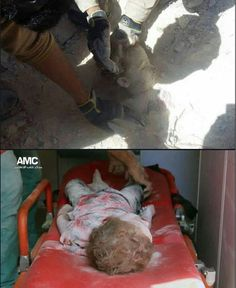 A Syrian toddler found dead from the rubble under her bombed home. Rest in peace, little angel. May those bombing you burn in hell eternally. Ameen.