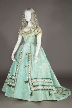"shewhoworshipscarlin: ""Evening dress, 1865. """