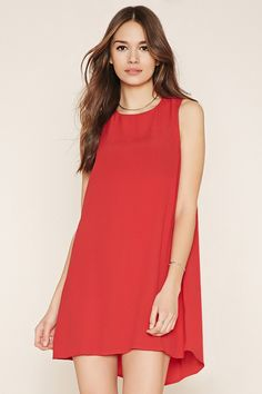 Forever 21 Contemporary - A sleeveless dress crafted from a textured woven with a mini length, a shift silhouette, and an invisible back zipper.