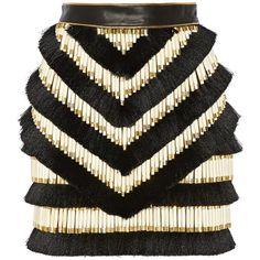 Balmain Embellished leather mini skirt ($2,290) ❤ liked on Polyvore featuring skirts, mini skirts, balmain, bottoms, saias, faldas, short black mini skirt, black miniskirt, short black skirt en leather skirt