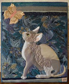 Gift for Cat Lovers-Art Quilt-mini Quilt-wallhanging-quilted picture-Kitten-butterfly-sphinx cat