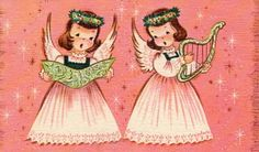 Vintage Angels Christmas card, pink background