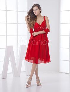 Red Bridesmaid Dress Backless Rhinestone Straps Chiffon Dress  Dress 8db321572c53