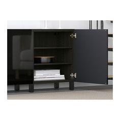 BESTÅ Storage combination with doors, black-brown, Selsviken high-gloss/black black-brown/Selsviken high-gloss/black 70 7/8x15 3/4x29 1/8