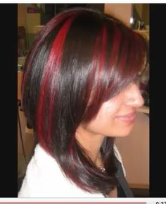 Candy Apple Red Highlights on Dark Chocolate Brown Hair