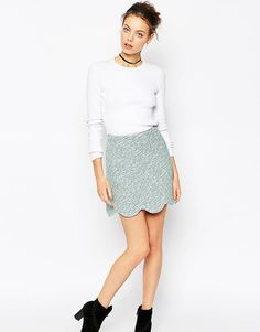 Asos Tweedy Mini Skirt with Scallop Detail Co-ord