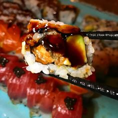ESL is one of my favorites so let's bite into Eel Avocado Roll from Tag a friend who love thick sauce. Avocado Roll, Esl, Nom Nom, Rolls, Let It Be, My Favorite Things, Food, Meal, Bread Rolls