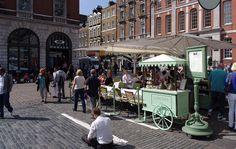 An outdoor café in London's Covent Garden Market.
