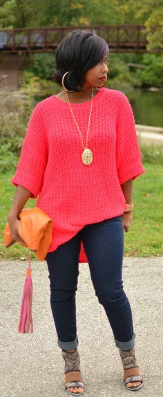 Fall 2014 Sweaters / Fall Outfit Idea 2014 So cute! Curvy Fashion, Denim Fashion, Love Fashion, Plus Size Fashion, Fashion Looks, Womens Fashion, Style Fashion, Fall Winter Outfits, Autumn Winter Fashion