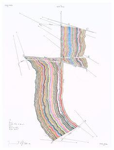 Jorinde Voigt - 2010  (V) Horizont  61 x 46 cm Tinte, Ölkreide, Bleistift auf Papier Unikat Signiert #InfographicsHorizontal