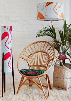 Hot coloured lamps compliment sculptural tropical palms. Happy Lamps by Retro Print Revival