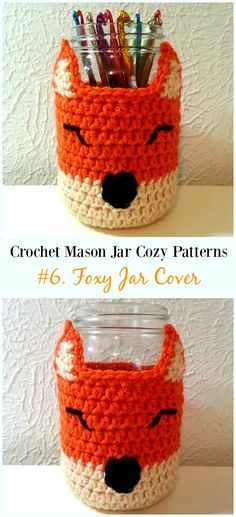 Crochet Foxy Jar Cover Free Pattern- #Crochet #MasonJar Cozy Free Patterns